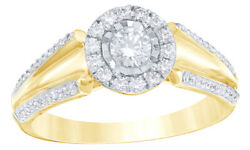 0.5 Ct Round Cut White Diamond Frame Tapered Shank Ring In 14k Yellow Gold