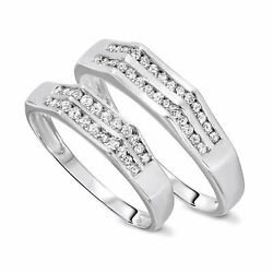 1/2 Carat T.w. Diamond His And Hers Wedding Band Set 10k White Gold