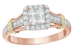 0.62 Ct Diamond Frame Vintage Style Tri Tone Engagement Ring In 10k Rose Gold