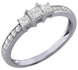 0.50 Ct Princess Cut Real Diamond In 14k White Gold Three Stone Engagement Ring