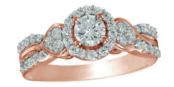 0.75 Ct Round Cut Diamond Frame Double Row Engagement Ring In 10k Rose Gold