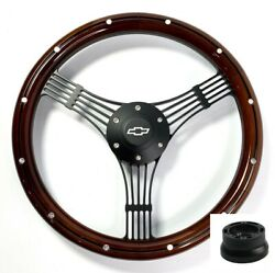 14 Black Banjo Steering Wheel Wood W/ Aluminum Chevy Horn Button Adapter