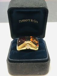 And Co. Rare 18k Yellow Gold Heavy Rubellite Diamond Ring 24gr
