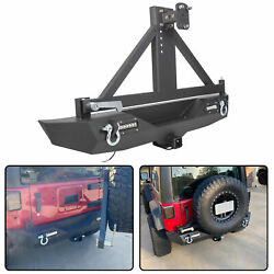 Textured Black Rear Bumper w Tire CarrierLED Lights for 07 18 Jeep Wrangler JK $323.50