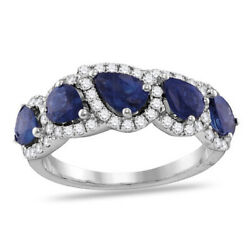 Sapphire And Diamond Cluster Band Ring 18k White Gold