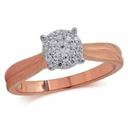 1/4 Ct Natural Diamond Double Frame Engagement Ring In 14k Rose Gold