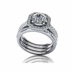 Simulated Diamond Halo Engagement Rings 14k Solid White Gold