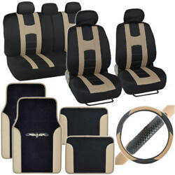 Complete Interior Set Car Seat Cover, Mat And Steering Wheel Cover - Black / Beige