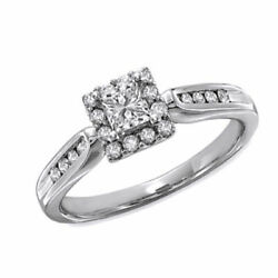 1/2 Ct Square Princess-cut Diamond Framed Engagement Ring In 14k White Gold