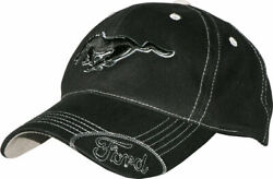 Ford Mustang Hat Black Pony Logo & Ford Oval W Silver Stitching Licensed Cap $17.95