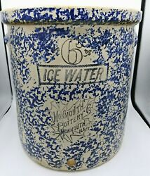 Rare Old Sponge Ware Monmouth Pottery Co Ice Water 6 Gal. Crock Monmouth Ill
