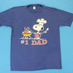 80s SNOOPY #1 DAD Vintage T Shirt Size Large ML Artex Peanuts Cook Out Tee