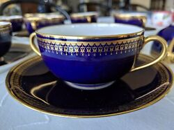 11 C Ahrenfeldt Limoge Blue And Gold Cream Soup/boullion Cups And Saucers 1894-1930