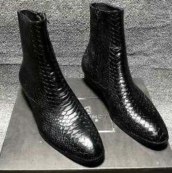 Mens Zipper Chelsea Boot Pointy Toe Dress Work Stage Real Leather Casual Shoes