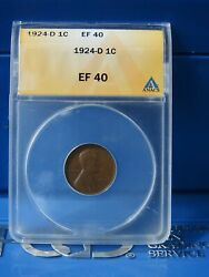1924-d 1c Lincoln Wheat Cent Penny Rotated Reverse Ana Ef40