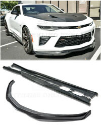 Carbon Fiber Front Lip W/ End Caps And Side Skirts For 16-up Camaro Ss T6 Style