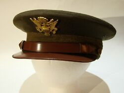 Vintage Wwii Us Army Aaf Air Corps Officers Crusher Style Cap Hat Feather Weight