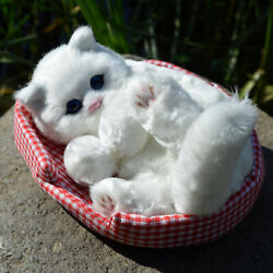LIFELIKE FURRY CAT FIGURINE SOFT FAUX FUR REALISTIC SMALL KITTEN TOY KITTY