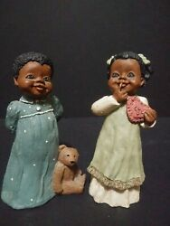 All Godand039s Children Martha Holcombe African-american Figurines Lot Amy And Angel