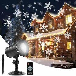 Christmas Snowflake Projector Lights Upgrade Rotating Led Snowfall With Remote