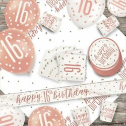 Rose Gold 16th Birthday Girl Party Supplies Tableware And Decorations Glitz 16