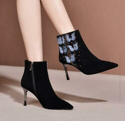 Womens Sexy Pointy Toe Diamante Butterfly Kitten Mid Heels Shoes Ankle Boots Uw
