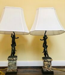 Make Offers Pair Of Maitland-smith Bronze Table Lamps With Acrobats