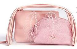 NEW WOMEN#x27;S 3 PIECE GUESS LARGE COSMETIC BAGS TRAVEL PINK BLUSH ANGEL WINGS $39.99