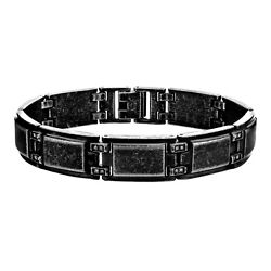 Inox 316l Vintage Black Stainless Steel With Cz Accent Hinges Menand039s Bracelet