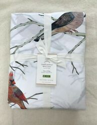 Pottery Barn Lowell Cardinal Bird King Duvet Cover Red Green White Holiday