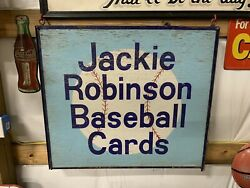 Rare Vintage Wooden And Metal Jackie Robinson Baseball Cards Sign Gas Oil Soda