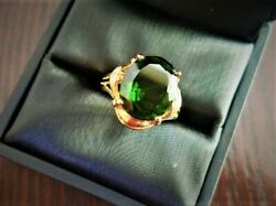 Womanandrsquos Fine Jewelry Ring Big Green Diopside 14k Yellow Gold For Anniversary