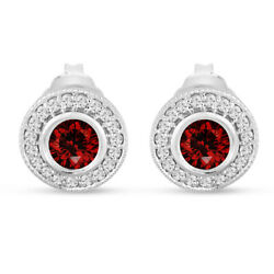 Red Diamond Earrings Halo Pave Vintage 14k White Gold Or Black Gold 0.90 Carat