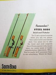 Vintage 1940s South Bend Fishing Rods Advertising Sign