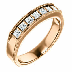 G-h Si2-si3 Diamond Menand039s Wedding Band In 14k Rose Gold 3/4 Ct. Tw.