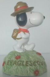Vintage Peanuts Snoopy Beagle Scout Willitts Ceramic Music Box Nice
