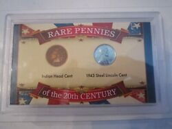 1906 Indian Head Penny And 1943 Steel Lincoln Cent - With Coa - Set - Tub Sc-6
