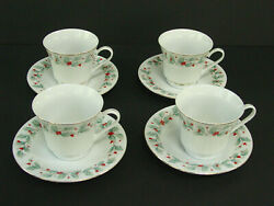 China Pearl Noel 4 Cup And Saucer Sets Black Backstamp Round Handles Fine China