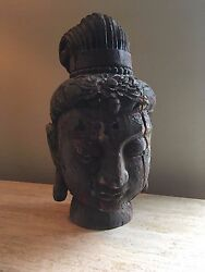 21 Antique Polychrome Distressed Chinese Wood Buddha Guanyin Head Asian Icon
