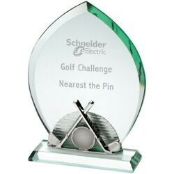 Stunning Golf 10mm Glass And Metal Clubs Sport Tournament Event Trophy- Free Case