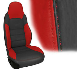 2005-2011 Corvette Z06 Inspired Leather Standard Seat Cover Ebony And Torch Red