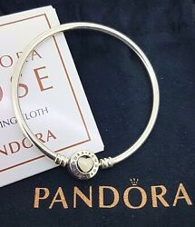 Pandora 925 Sterling Silver Heart Bangle_you Are So Loved Plus Polishing Cloth