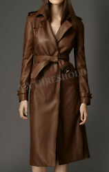 Women Brown Genuine Real Leather Trench Coat