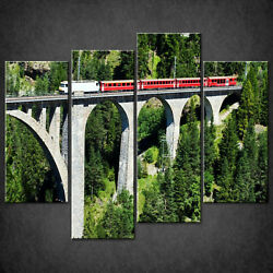 Swiss Train High Bridge Canvas Print Picture Wall Art Home Decor Free Delivery