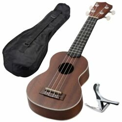 21 Ukulele Guitar Hawaii Instrument Concert Wood W/carry Bag Music Party Brown