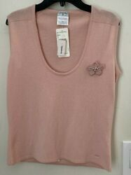 Pink Knit Sleeveless Sweater With Flower Brooch P25380v01834 Sz 40 Small