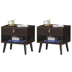 Set of 2 Nightstand Sofa Side End Table Bedside Table w Drawer Shelf Wood Legs