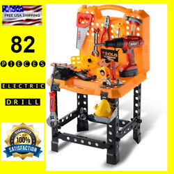 Kids Tool Set And Work Bench With Drill And Screws For Boys Workshop Play Set