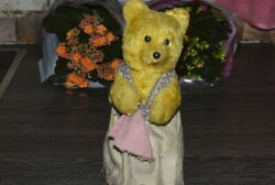 Russian Old Soviet Doll Vintage Toy 1950 Teddy Bear Wind-up Mechanical Papier