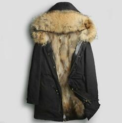 Menand039s Real Fox Fur Collar Hooded Jacket Fox Fur Lined Coat Winter Parka Outwear